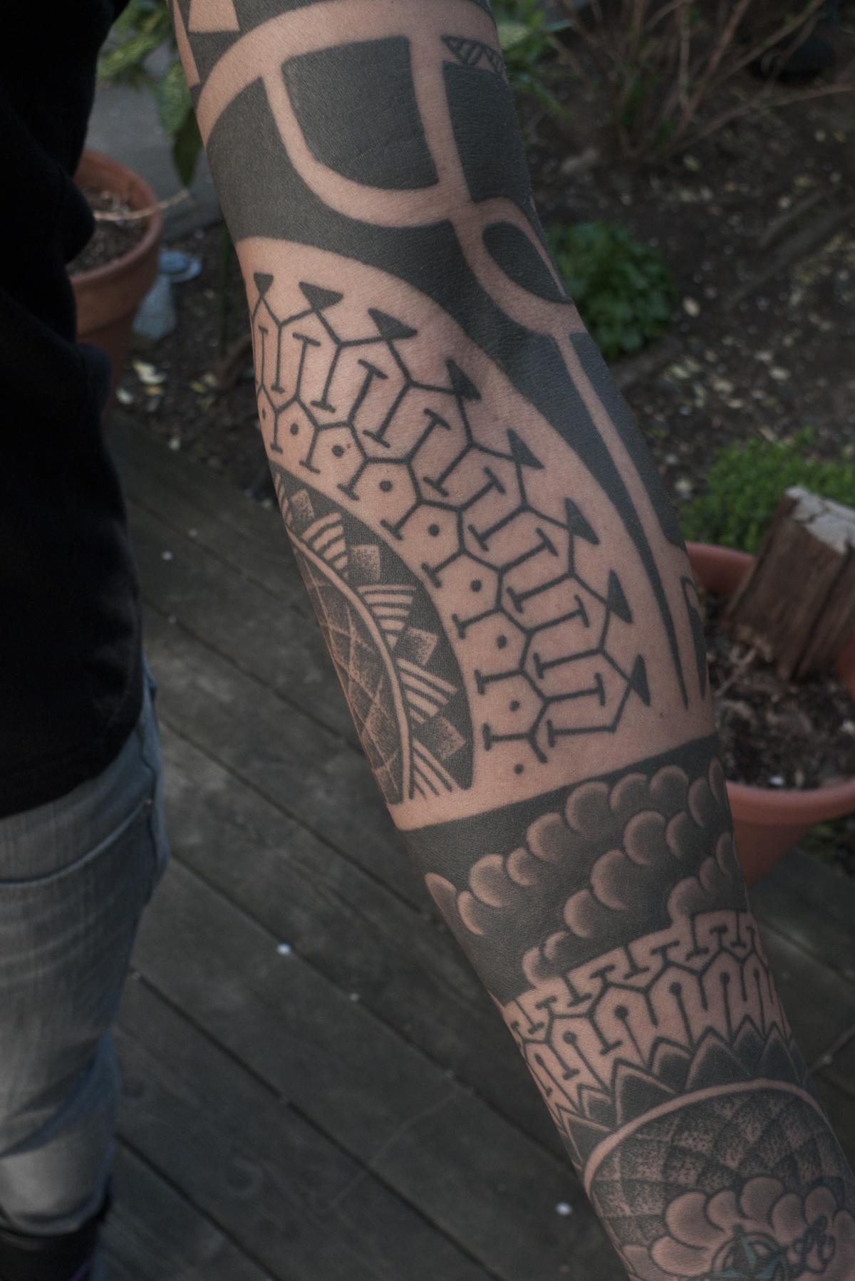 Polynesian inspired sleeve