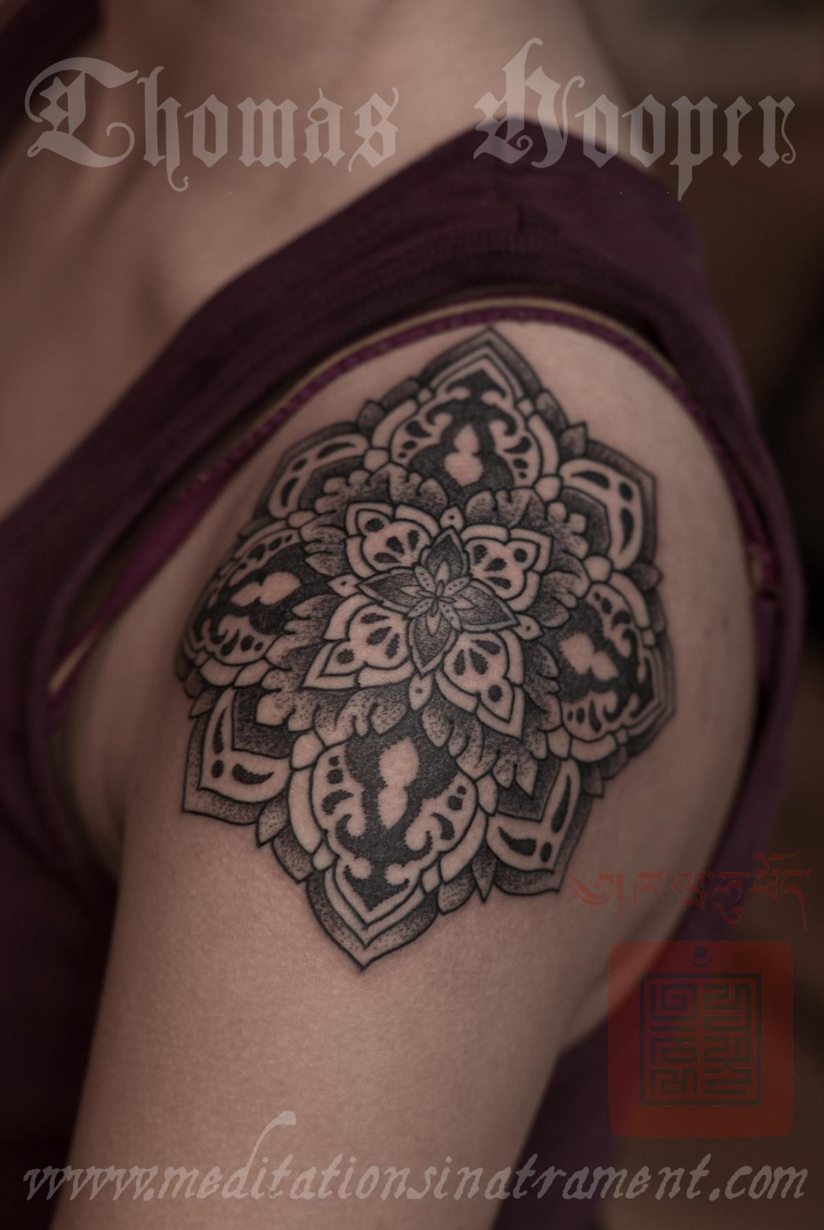 Shoulder Flower Tattoo – Tattooing By Thomas Hooper – 007 – November 09 2011