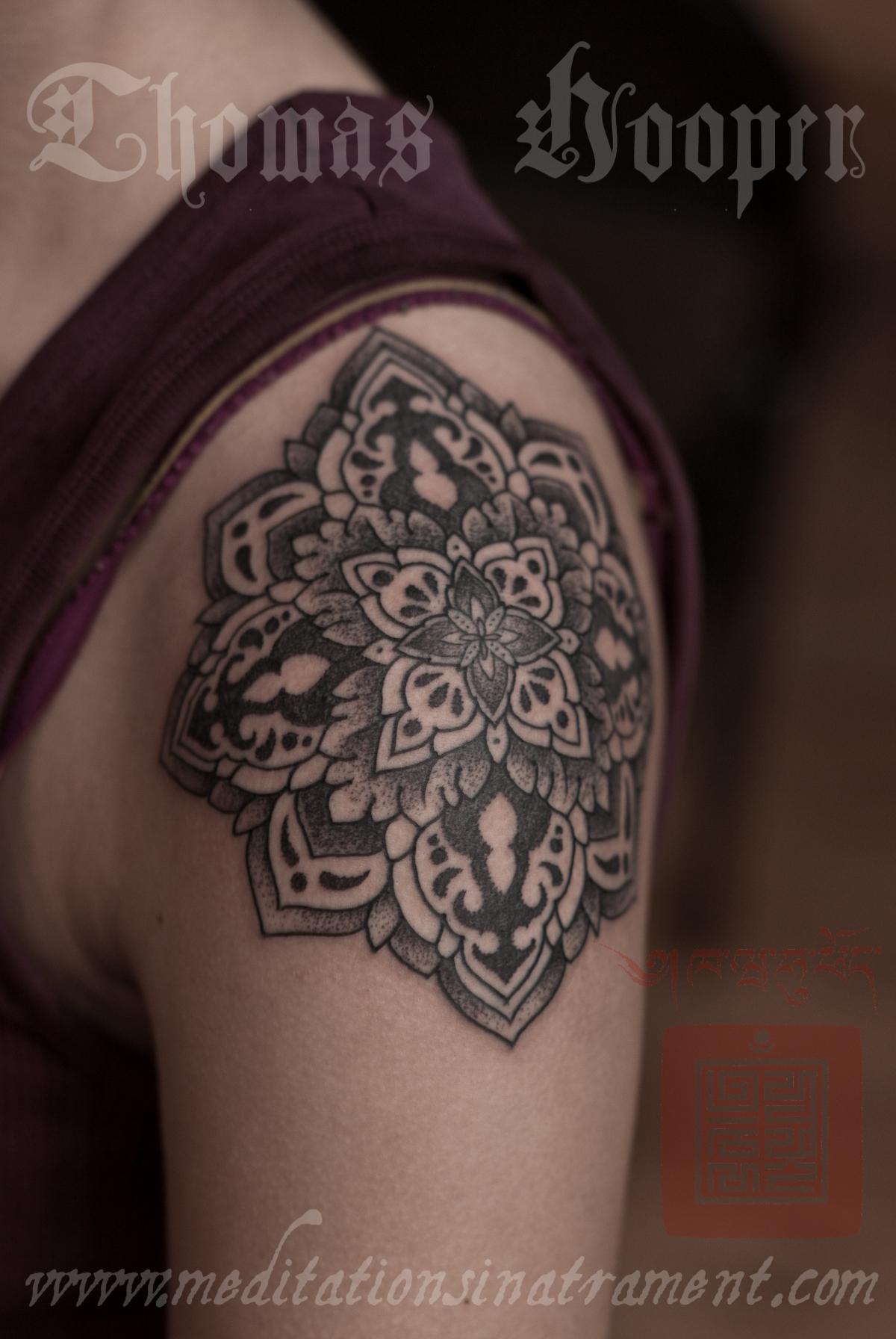 Shoulder Flower Tattoo – Tattooing By Thomas Hooper – 008 – November 09 2011