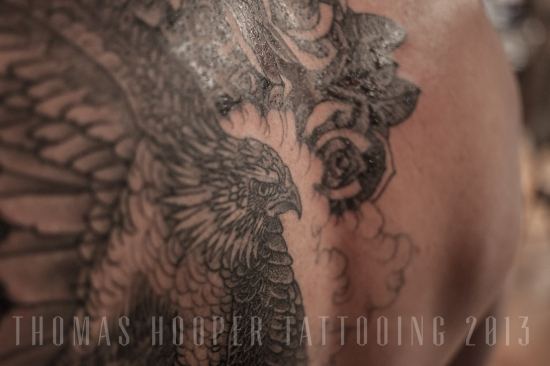 Jordan's Hawk and Rose Mandala Tattoo Thomas Hooper Tattooing_1