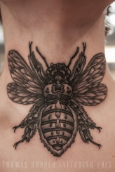 Tamara's Carpenter Bee Throat Tattoo thomas hooper tattooing_3