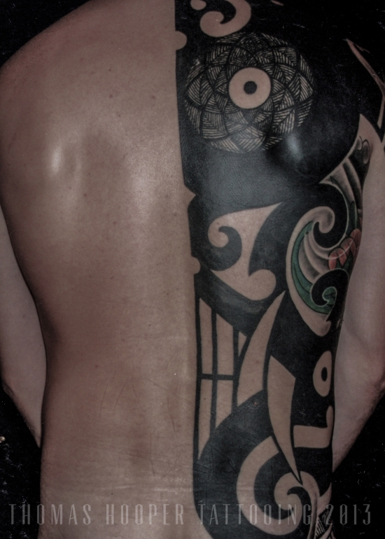 Thomas Hooper Tattooing Borneo Mask Tibetan Flowers 1-2 torso 2005_1