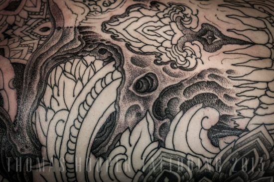 Thomas Hooper Tattooing Skull and Ornament Back Piece _1