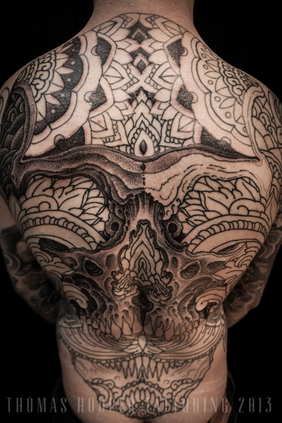 Thomas Hooper Tattooing Skull and Ornament Back Piece _7