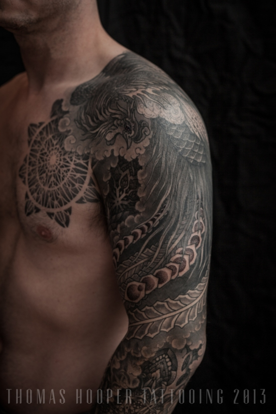Thomas Hooper Tattooing Pheonix and Mandala Full Sleeve _11