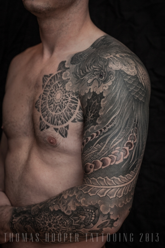 Thomas Hooper Tattooing Pheonix and Mandala Full Sleeve _3