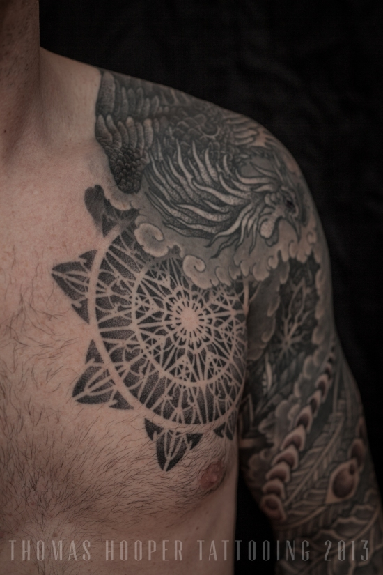 Thomas Hooper Tattooing Pheonix and Mandala Full Sleeve _5