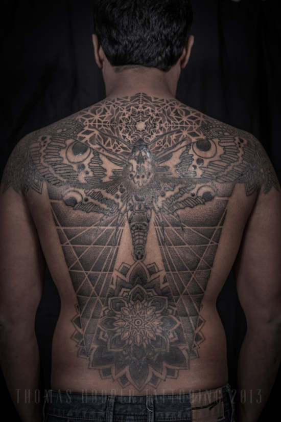 Thomas Hooper Tattooing Rene's back Moth and Geometric Mandala Tattoo_1