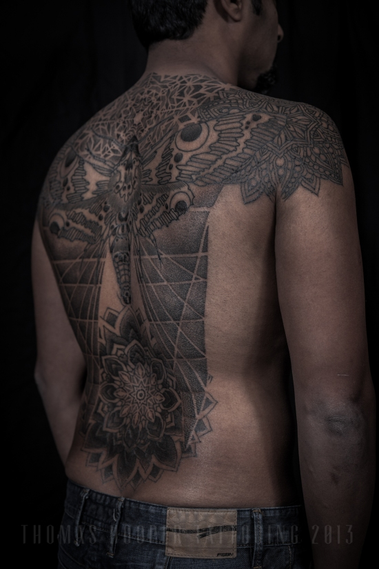 Thomas Hooper Tattooing Rene's back Moth and Geometric Mandala Tattoo_2-3