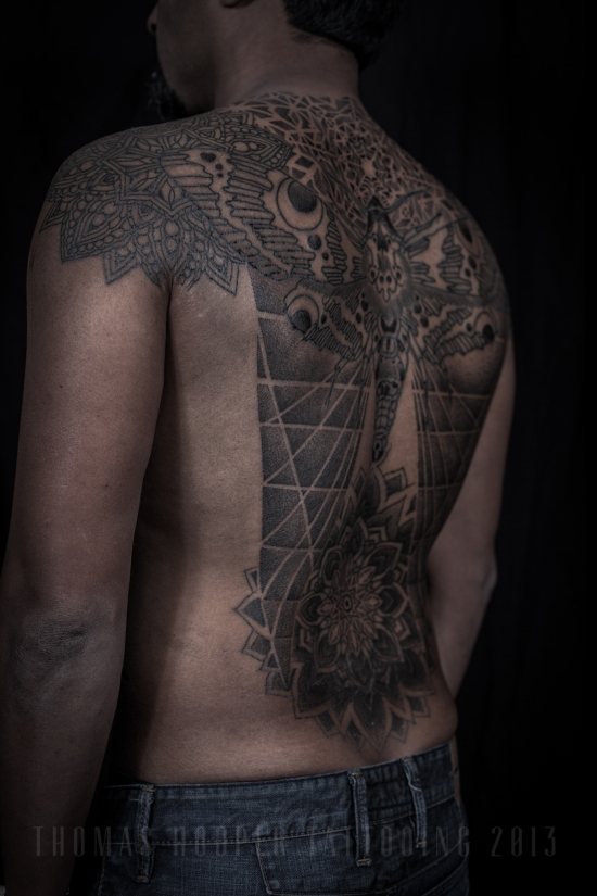 Thomas Hooper Tattooing Rene's back Moth and Geometric Mandala Tattoo_3-3