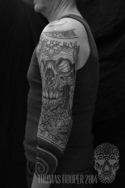 Skull Mandala Layered Thomas Hooper Dotwork Tattoo-11