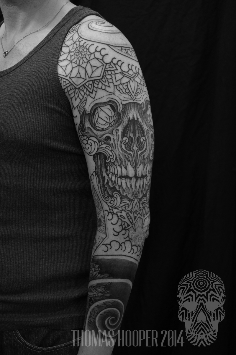 Skull Mandala Layered Thomas Hooper Dotwork Tattoo-12