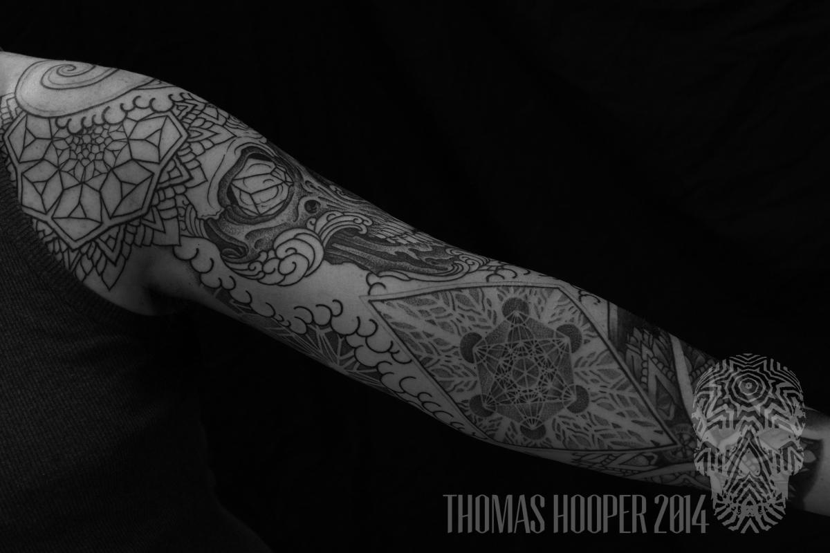 Skull Mandala Layered Thomas Hooper Dotwork Tattoo-8