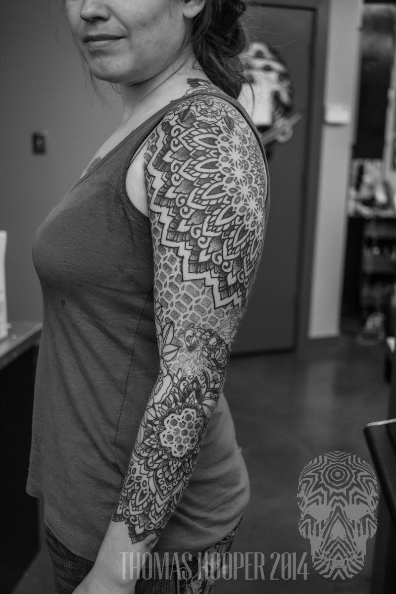 Honey Comb macro bee sleeve mandala dotwork tattoo