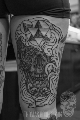 Sacred Geometry Shrouded Skull with ornament and Motifs Dotwork Tattoo Thomas Hooper-2